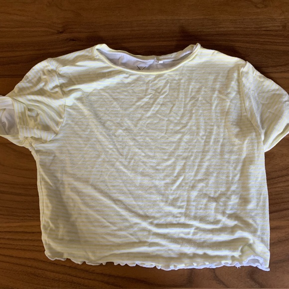 PacSun Tops - yellow/white striped crop top